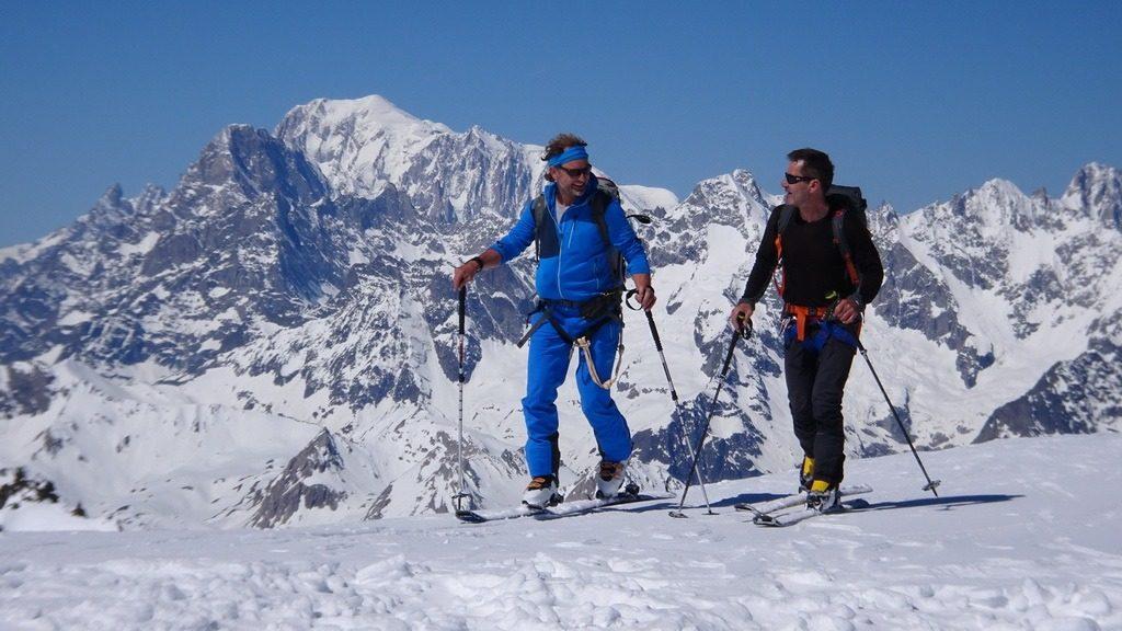Armin und Didi auf dem Petit Combin. Im Hintergrund Mont Blanc. 31.5.2019
