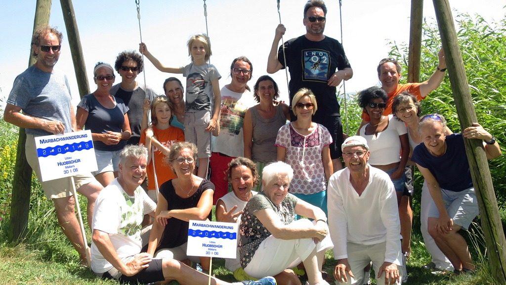 Teilnehmer der Marbachwanderung 2019 bei der Huobschür, LU. 30.6.2019
